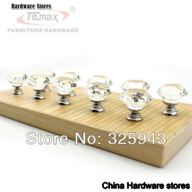 Clear zinc glass crystal bedroom furniture kitchen drawer dresser door cabinet knobs and Handles for bedroom furniture