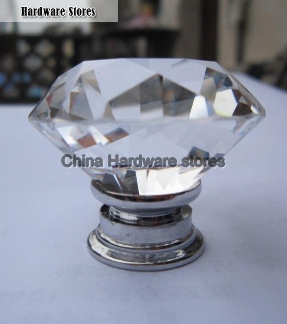 Furniture Handle Designer Series K9 Crystal Diamond Chrome Cabinet Cupboard Door  Knob (Diameter:40mm