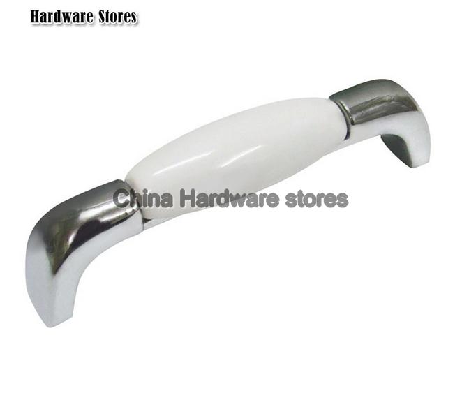 Silver zinc + white ceramic door knobs/ decorative door knob ...