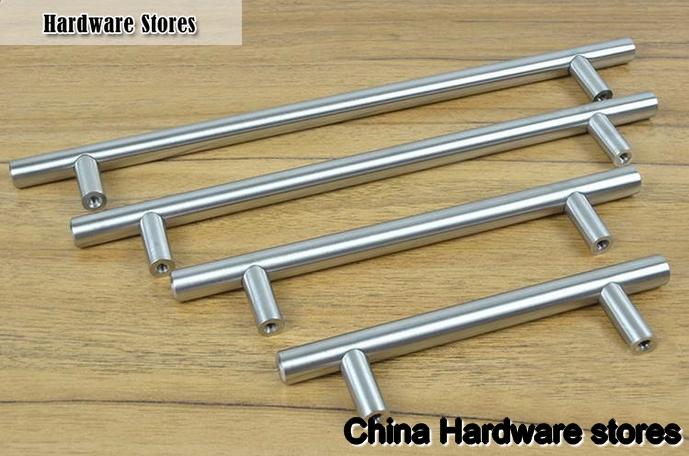 Furniture Hardware Modern Solid Stainless Steel Kitchen Cabinet Handles Bar T Handle C 256mm