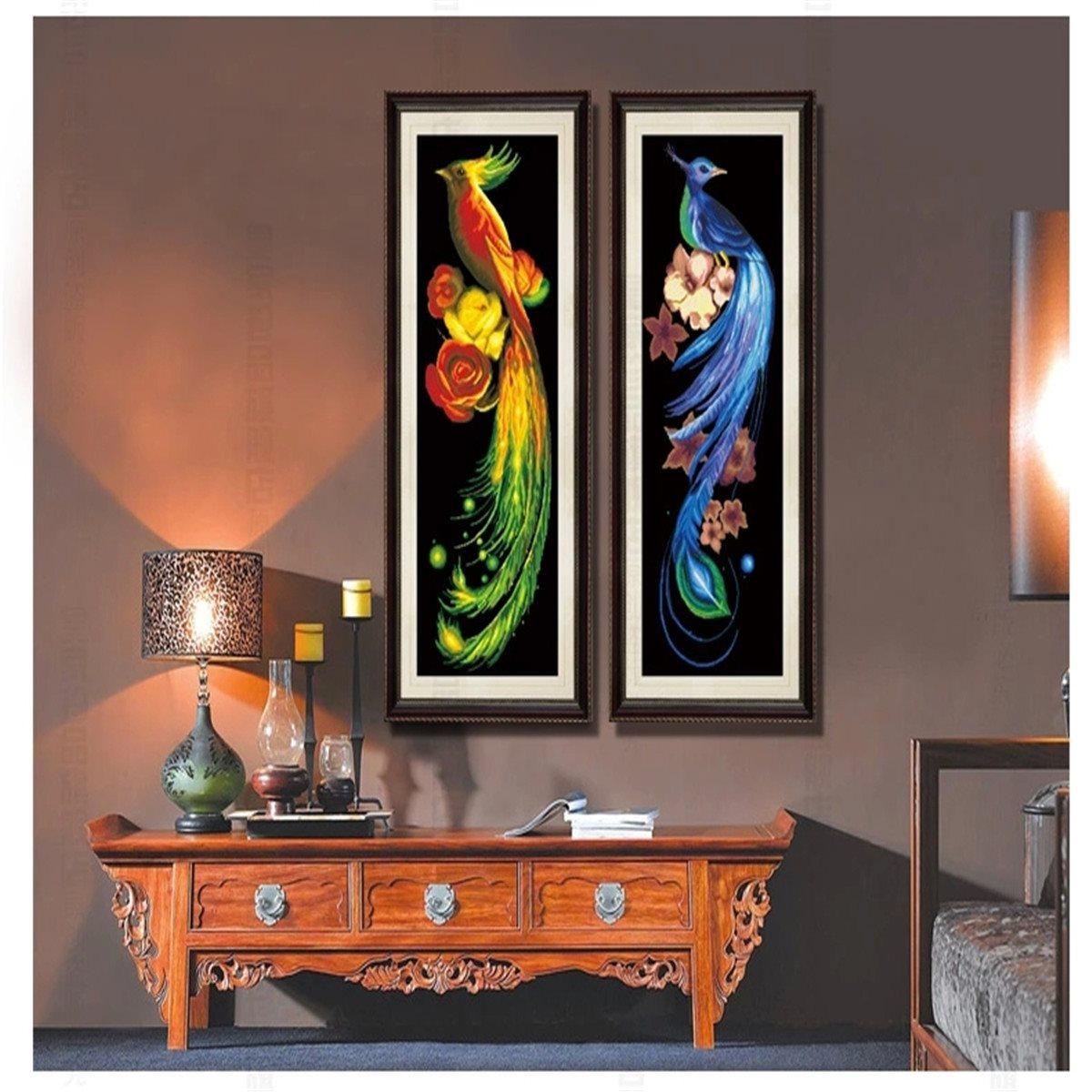 2pcs 5d blue golden printing drawing room vertical version for Room decor 5d