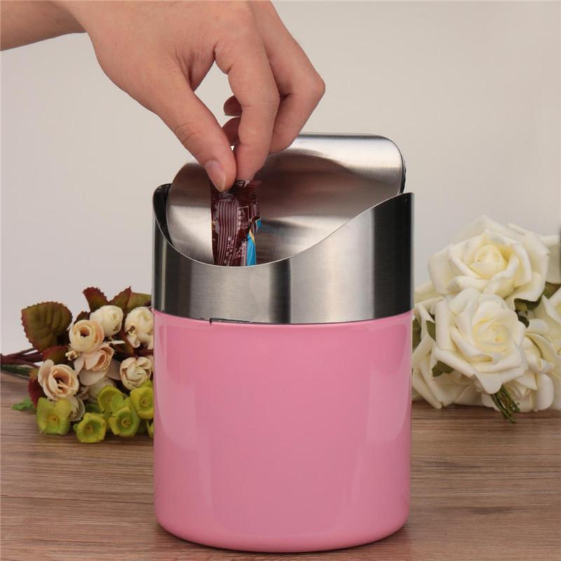 Beautiful Design Pink Stainless Steel Trash Mini