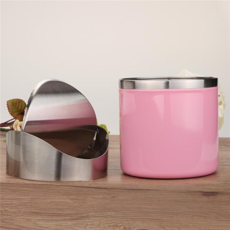 Beautiful design pink stainless steel trash mini car dustbin swing lid kitchen worktop - Pink kitchen trash can ...