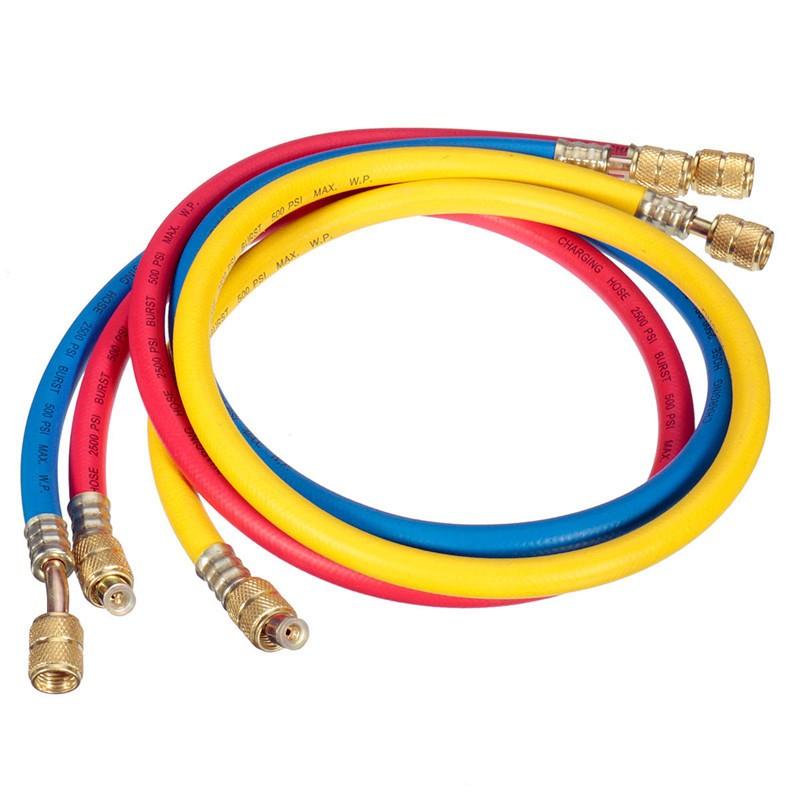 "2015 safety 500psi 36"" a/c brass charging hose set f hvac air"